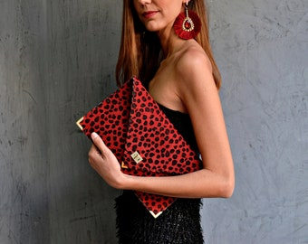 Red leopard suede leather clutch purse