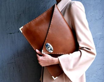Seal brown large leather clutch