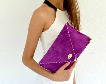 Bright purple suede leather clutch