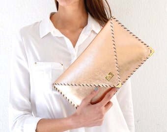Leather rose gold clutch