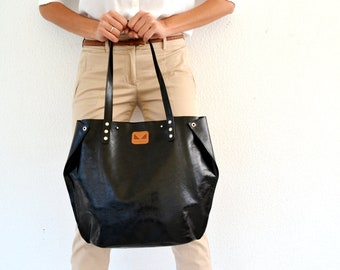 Black waxed leather tote