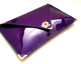 Purple patent leather clutch / Handmade leather bag