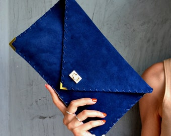 Royal blue suede leather clutch