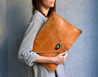 Camel brown large leather clutch