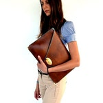Brown leather clutch / Camel leather bag / Women business bag / Leather file folder / Laptop case 15 in