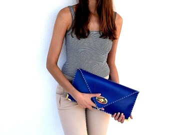 Blue leather medium clutch