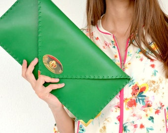 Green leather clutch / Handmade leather bag