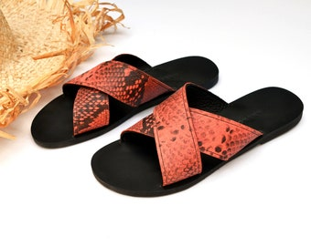Melia sandals in coral-black snake style