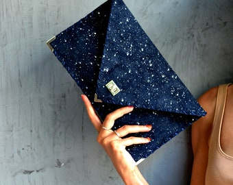 Blue suede leather clutch with white painted dots