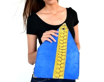 Blue leather clutch / Snake clutch / Yellow clutch / Electric blur clutc / Handmade leather bag / Evening bag