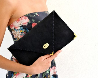 Navy blue leather suede clutch