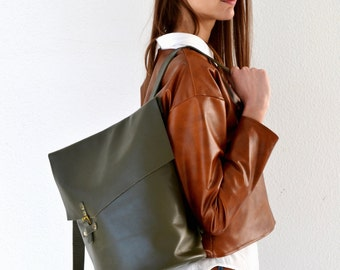 Dark green leather backpack