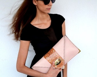 Nude leather clutch with brown genuine snakeskin