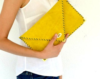 Yellow mustard suede leather clutch