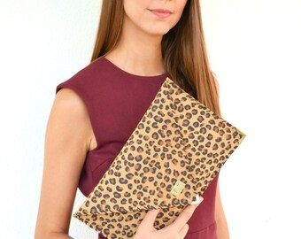 Leopard suede leather clutch purse