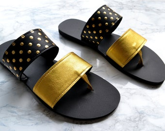 Ekati sandals in gold - black