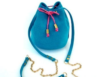 Turquoise leather little bucket bag