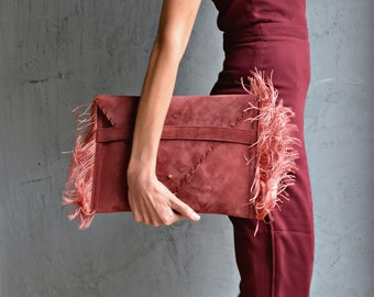 Rosewood fringes leather clutch