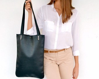 Black leather everyday tote bag