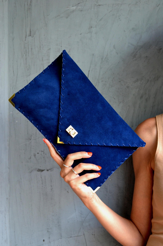 149efa019120 Royal blue suede leather clutch