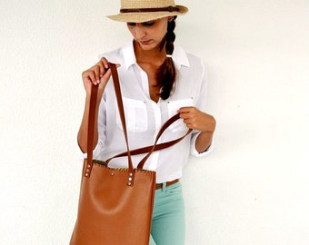 Brown leather tote / Tabac leather bag