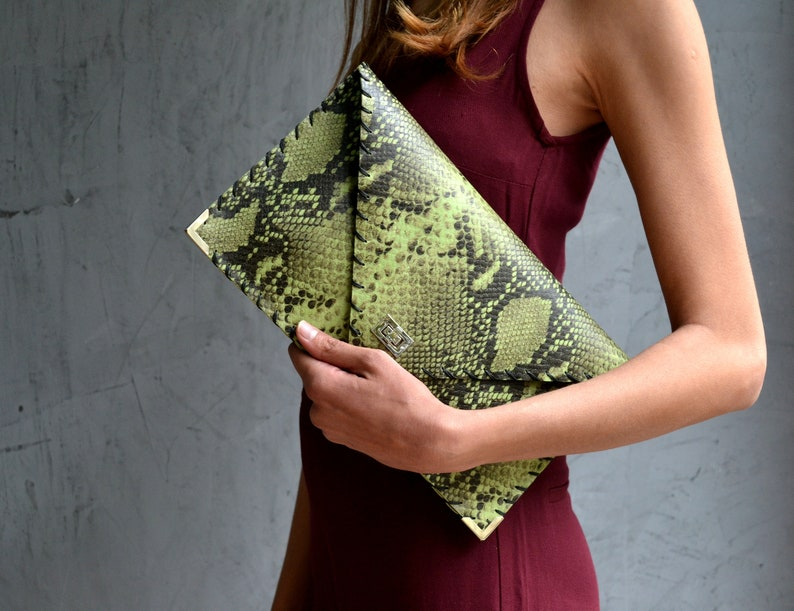 Green leather purse Evening bag Envelope clutch Lime green leather clutch Lime Snake Symmetria Clutch Pattern leather bag Snake bag