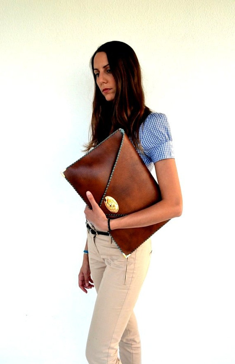 Brown leather clutch / Camel leather bag / Women business bag image 0