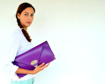 Leather clutch / Handmade purple leather bag