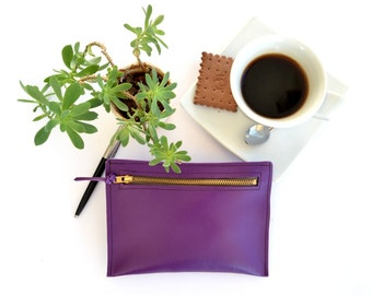 Purple leather wallet with zipper in front