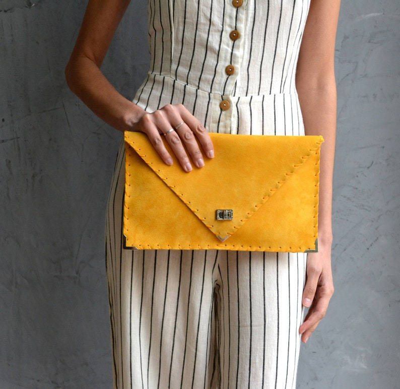 209447f3ab Mustard suede leather clutch purse Mustard leather bag