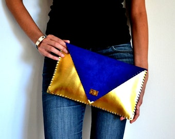 Gold and electric blue leather clutch / handmade bag / Gold and electric blue leather
