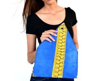 Blue leather clutch / Snake clutch / Yellow clutch / Electric blur clutc / Handmade leather bag / Evening bag