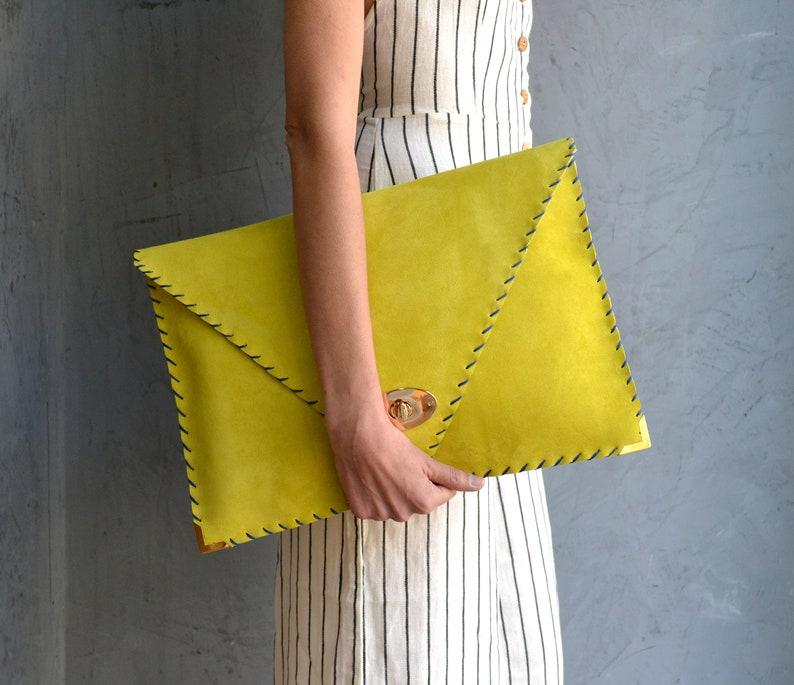Soft Symmetria Clutch  Yellow leather clutch  Large clutch Y ellow suede handbag  Envelope clutch  Laptop case 15  Business bag