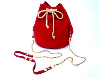Red small leather bucket bag