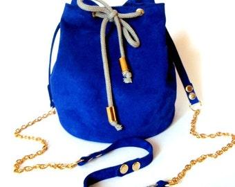 Blue leather little bucket bag