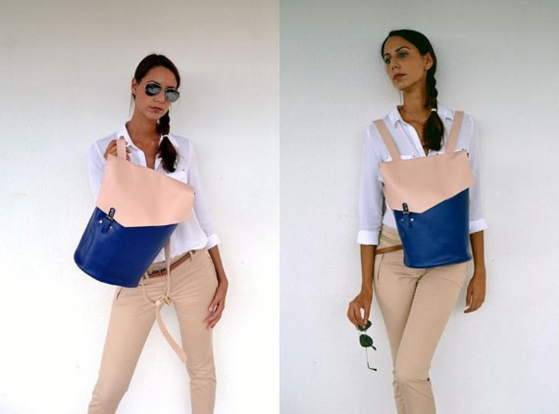 Blue and nude leather backpack  Handmade leather bag  Italian cow high quality leather