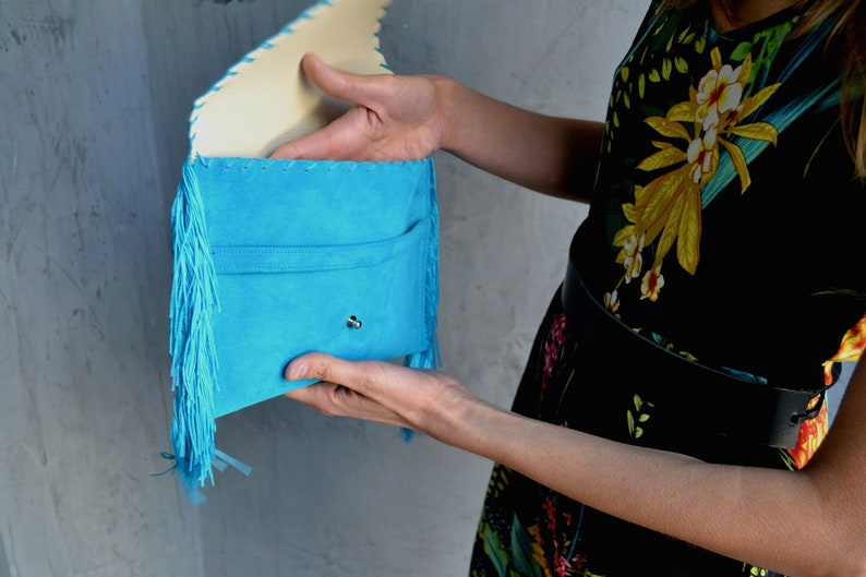 Turquoise leather Wrislet Suede clutch Turquoise fringes leather clutch Leather evening bag Turquoise leather bag Small Medusa Clutch