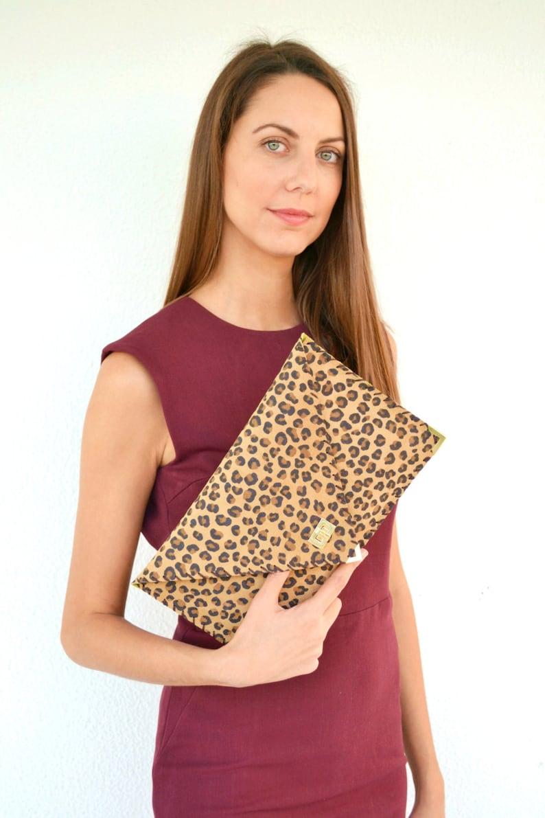 40ae3b541196 Leopard suede leather clutch purse Leopard handbag Leather | Etsy