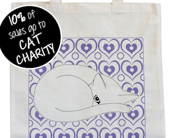 Cat and Purple Hearts Tote Bag - Cute Cat Tote