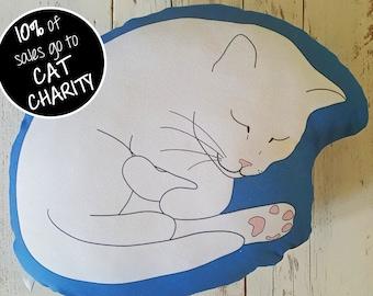Sleeping Cat Cushion Deep Blue; Sleeping Cat Pillow Deep Blue; cat plushie; cat lover gift