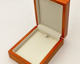 """Real polished wood wooden universal jewellery necklace gift box case 4/"""" 10cm"""