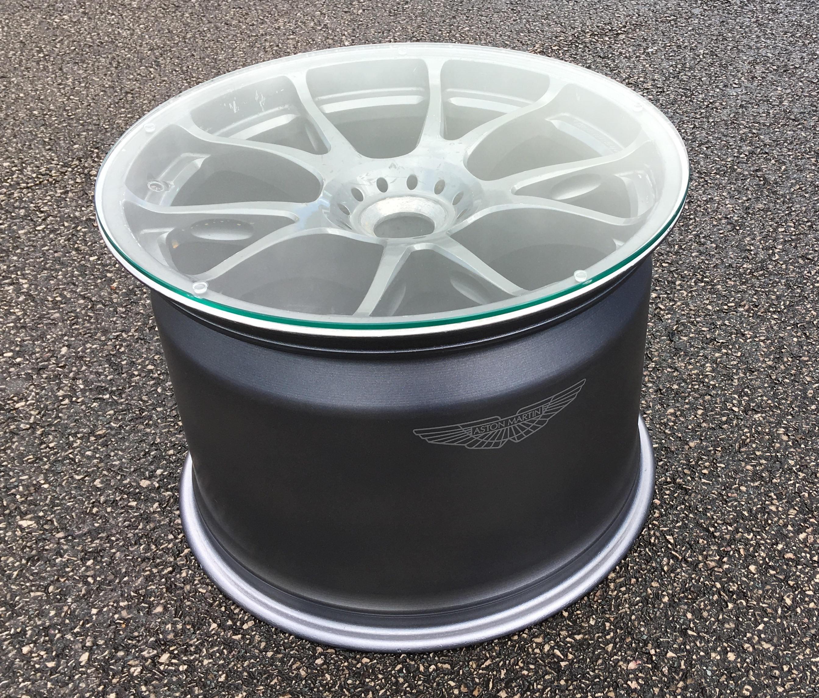 V8 Engine Glass Table: Aston Martin Le-mans GTE Racecar Wheel Rim Coffee Side
