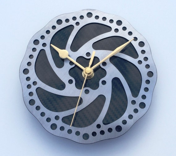 Bike part chain wall or desk clock real carbon fibre guys mans office workshop cycling biker gift Silver /& black 5