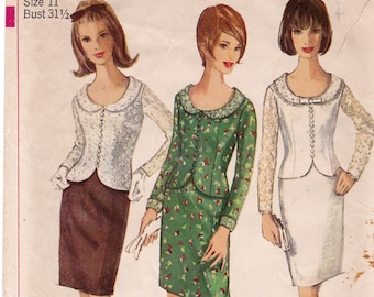 FF 1965 Simplicity 6314 Pattern, Two Piece Dress with Slim Skirt Contrasting Top Vintage Sewing Pattern, Size 11, Bust 31 1/2, UNCUT