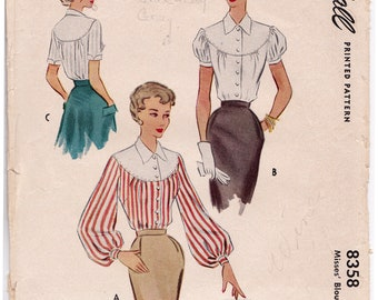 2f22e38559b McCall 8358 1950s Rockabilly Misses Yoked Blouse with Balloon Sleeves Women  Vintage Sewing Pattern