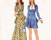 Simplicity 5728 1970s Retro Long Maxi and Knee Length Dress Vintage Sewing Pattern, Mod Collar, Size 12, Bust 34
