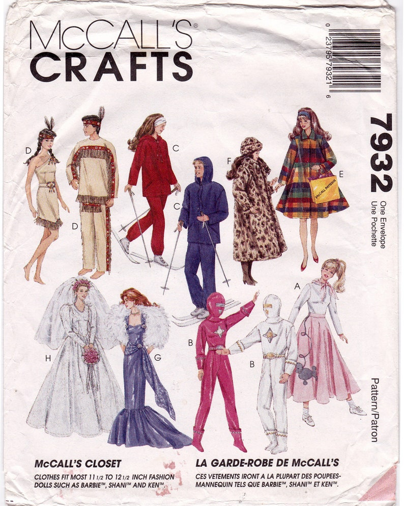 """McCalls 8552 11.5/"""" Fashion Doll Clothes Pattern Evening Dresses Wedding Gown"""