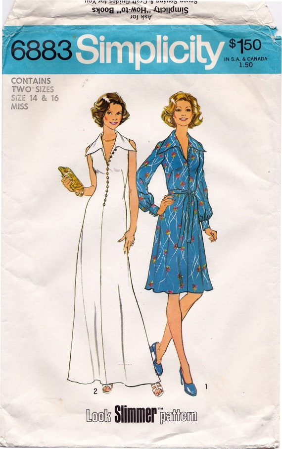 FF 70s Simplicity 6883 Misses' Look Slimmer Maxi Dress and Midi Dress Sewing Pattern, Sleeveless or Long Sleeves Sz 14 & 16 Bust 36 38 UNCUT