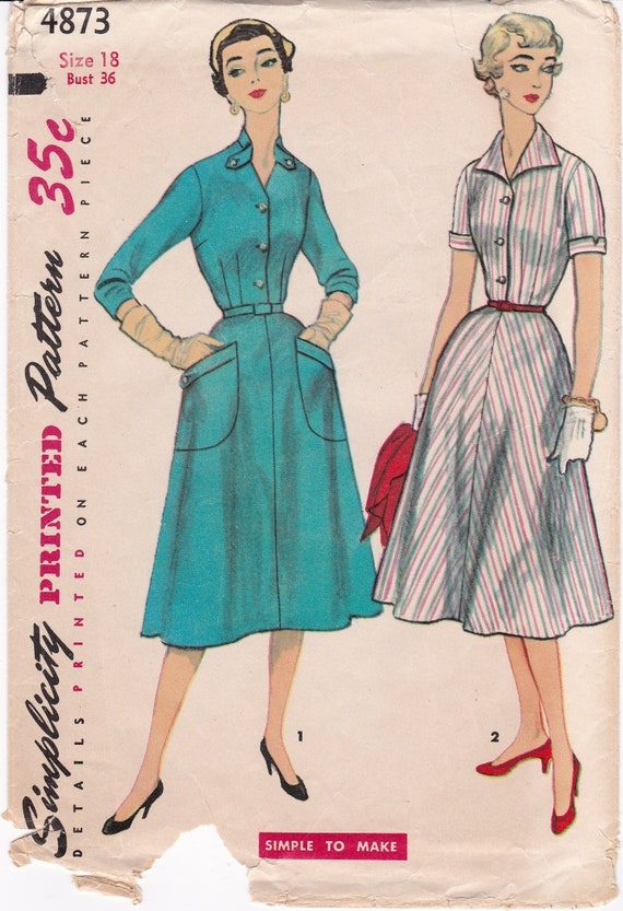 Simplicity 4873 1950s Dress Pattern, V Neckline Flared Skirt Tabs Women  Vintage Sewing Pattern, Plus Size 18, Bust 36, Partly Cut