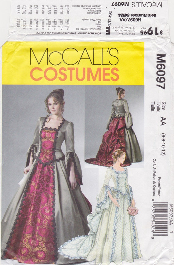 FF McCalls 6097 Victorian Costume Woman\'s Fancy Dress Sewing Pattern ...